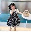Dress White fake two pieces of floral skirt, black fake two pieces of floral skirt female Other / other 90cm,100cm,110cm,120cm,130cm,140cm Other 100% spring and autumn Korean version Long sleeves Solid color cotton A-line skirt Seven, eight, three, six, two, five, four, nine Chinese Mainland