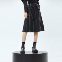 skirt Winter 2020 S,M,L black Mid length dress street Natural waist Irregular Type A 18-24 years old CUUDICLAB Fold, three-dimensional decoration, zipper, open line decoration, splicing Punk