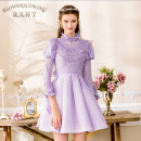 Dress Fall 2017 violet XS S M L XL XXL Middle-skirt singleton  Long sleeves Sweet Crew neck High waist Solid color Socket Princess Dress Princess sleeve Others 25-29 years old Flowerscoming 31% (inclusive) - 50% (inclusive) nylon princess