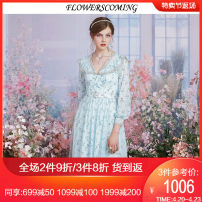 Dress Spring 2021 Blue flower S M L XL XXL Mid length dress singleton  Long sleeves commute Doll Collar High waist Decor Socket Princess Dress bishop sleeve 25-29 years old Flowerscoming Retro Pleated Sequin mesh zipper lace printing FKCL125 More than 95% polyester fiber Polyester 100%