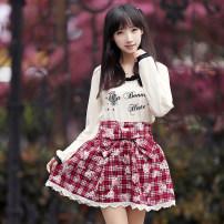 skirt Spring of 2018 Average size Short skirt Sweet High waist High waist skirt lattice Bows, prints, lace Countryside