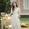 Dress Summer 2021 Apricot S,M,L longuette singleton  Short sleeve commute square neck High waist Solid color zipper A-line skirt puff sleeve 18-24 years old Type A literature Bow, zipper Q-0811DD12 Lace