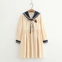 Dress Autumn 2020 Apricot, ginger Average size Middle-skirt singleton  Long sleeves Sweet Admiral High waist Cartoon animation A-line skirt routine Under 17 Type A Yu Jinji Embroidery, lace up, stitching 81% (inclusive) - 90% (inclusive) cotton college