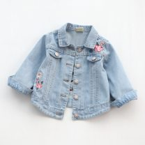 Plain coat Other / other female spring and autumn Korean version Single breasted routine nothing Broken flowers Denim square neck