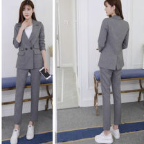 Professional pants suit Grey [coat + pants], black [coat + pants], grey [coat + pants + T-shirt], black [coat + pants + T-shirt] Xs, s, m, l, XL, XXL, [small gift from collection store], [high quality upgraded fabric] Fall 2017 loose coat Long sleeves trousers Other / other 25-35 years old cotton