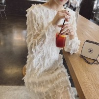 Dress Spring 2021 Milky white S,M,L longuette singleton  Long sleeves commute Crew neck High waist Solid color Socket routine Others Type H Korean version More than 95% other polyester fiber