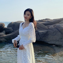 Dress Autumn 2020 Dream powder, holy white S,M,L longuette singleton  Long sleeves commute V-neck High waist Solid color Socket A-line skirt routine Others 25-29 years old Type A Korean version Lace 81% (inclusive) - 90% (inclusive) Lace cotton