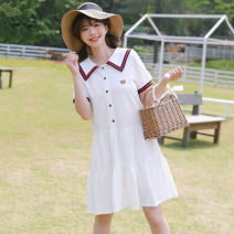 Dress Summer 2021 White, Navy S,M,L,XL,2XL Middle-skirt singleton  Long sleeves commute Hood middle-waisted Solid color zipper Princess Dress routine Others 18-24 years old Type X Other / other Korean version zipper 30% and below other cotton