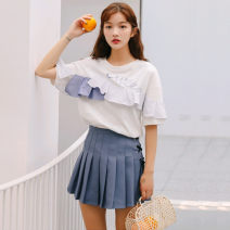 Fashion suit Summer 2021 S,M,L White, denim blue, T-shirt + pleated skirt 18-25 years old Other / other 96% and above cotton