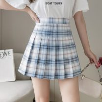 skirt Summer 2021 S,M,L,XL Immortal Sichuan plaid skirt Short skirt Sweet High waist Pleated skirt lattice Type A 18-24 years old More than 95% other other Pleated, zipper college