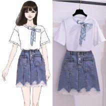 Fashion suit Summer 2021 S,M,L,XL White T-shirt and blue denim skirt , White T-shirt , Blue denim skirt 18-25 years old 81% (inclusive) - 90% (inclusive) cotton