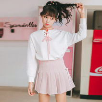 Fashion suit Autumn 2020 S,M,L Black, white, pink, white top + pink skirt 18-25 years old A group of ducks pass downstream of Menqian Bridge 51% (inclusive) - 70% (inclusive) cotton