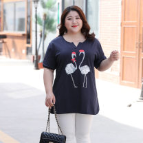Women's large Summer 2019, summer 2020 Navy blue, white 3XL,4XL,5XL,6XL,7XL T-shirt singleton  commute easy thin Short sleeve Animal design Korean version V-neck cotton printing and dyeing other 30-34 years old 91% (inclusive) - 95% (inclusive)