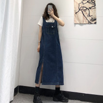 Dress Autumn 2020 blue Mid length dress singleton  Sleeveless commute other middle-waisted Solid color other A-line skirt routine straps 18-24 years old Type H Korean version pocket 81% (inclusive) - 90% (inclusive) Denim cotton