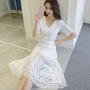 Dress Summer 2017 white S,M,L,XL,2XL singleton  elbow sleeve commute V-neck middle-waisted Socket A-line skirt routine Others Type A Other / other Lace Lace