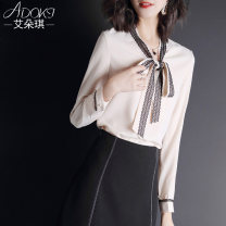 shirt Beige Pink Blue M L XL XXL XXXL Autumn of 2019 polyester fiber 96% and above Long sleeves Versatile Regular V-neck Socket routine Solid color 25-29 years old Straight cylinder Adoki ALJ-9S0653 Resin fixation of lace with bow hook and hollow stitching Polyester 100% Pure e-commerce (online only)
