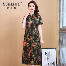 Dress Summer 2021 Green flower L XL 2XL 3XL 4XL longuette singleton  Short sleeve commute stand collar middle-waisted Decor Socket A-line skirt routine Others 40-49 years old Type A Shirley o printing 21QJN20301 More than 95% other Other 100% Same model in shopping mall (sold online and offline)