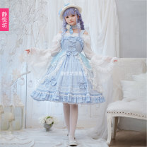 Lolita Dress Straw hat neck (one size) with chiffon shirt (one size) suspender skirt + veil skirt L M S