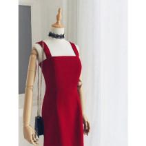 Dress Spring of 2019 gules XS,S,M,L Mid length dress singleton  commute High waist camisole Type X Retro