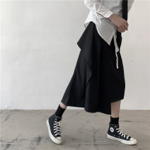skirt Winter of 2019 S, M black Middle-skirt street High waist Irregular Solid color Type A 18-24 years old 91% (inclusive) - 95% (inclusive) brocade cotton Pleating, asymmetry Europe and America