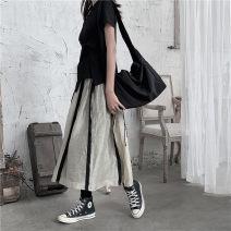 skirt Summer 2020 S,M,L khaki Middle-skirt street Natural waist A-line skirt stripe 81% (inclusive) - 90% (inclusive)