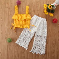 suit Other / other 90cm,100cm,110cm,120cm,130cm female summer leisure time Sleeveless + pants 2 pieces Thin money There are models in the real shooting nothing Solid color cotton friend Class A Cotton 100% Two, four, five, six Chinese Mainland