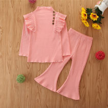suit SAMGAMI BABY 208067 Pink , 208067 green 90cm,100cm,110cm,120cm,130cm female spring and autumn Europe and America Long sleeve + pants 2 pieces routine There are models in the real shooting Socket nothing Solid color cotton Expression of love Class A Cotton 100% Chinese Mainland