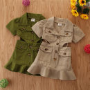 Dress 203034 khaki, 203034 green female SAMGAMI BABY 100cm,110cm,120cm,130cm,140cm Cotton 100% summer Britain Short sleeve Solid color cotton A-line skirt Class A 2 years old, 3 years old, 4 years old, 5 years old, 6 years old Chinese Mainland