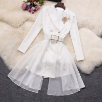Dress Spring 2021 White, black M, L Short skirt singleton  Long sleeves commute tailored collar High waist Solid color Socket A-line skirt routine 18-24 years old Type A Korean version Lace up, stitching 31% (inclusive) - 50% (inclusive) other other