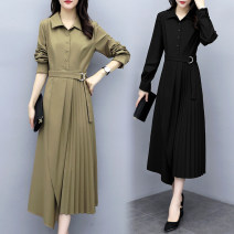 Women's large Spring 2020 Black, khaki M (recommended 90-100 kg), l (recommended 100-115 kg), XL (recommended 115-130 kg), 2XL (recommended 130-145 kg), 3XL (recommended 145-160 kg), 4XL (recommended 160-180 kg), 5XL (recommended 180-200 kg) Dress singleton  commute moderate Long sleeves other 12-4