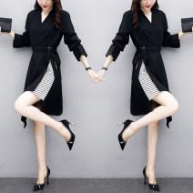 Women's large Spring 2021 black L (recommended 100-115 kg), XL (recommended 115-130 kg), 2XL (recommended 130-145 kg), 3XL (recommended 145-160 kg), 4XL (recommended 160-180 kg), 5XL (recommended 180-200 kg) Dress singleton  commute easy moderate Socket Long sleeves Solid color Korean version V-neck