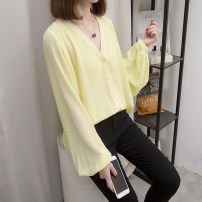 Women's large Spring 2021 shirt singleton  commute easy moderate Cardigan Long sleeves Solid color Korean version V-neck routine other Three dimensional cutting routine 1-26 Other / other
