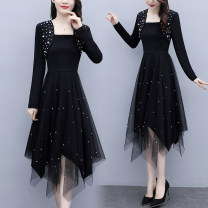Women's large Spring 2021 Black, black 1 L (recommended 100-115 kg), XL (recommended 115-130 kg), 2XL (recommended 130-145 kg), 3XL (recommended 145-160 kg), 4XL (recommended 160-180 kg), 5XL (recommended 180-200 kg) Dress Fake two pieces commute Self cultivation moderate Socket Long sleeves other