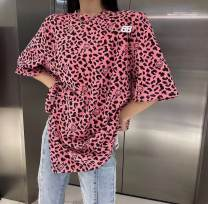 T-shirt Blue, white, pink, yellow, green, gray Average size Summer 2021 Short sleeve Crew neck easy Medium length routine commute cotton 96% and above Korean version Leopard Print Other / other