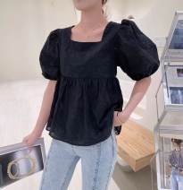 shirt Black, white S, M Summer 2021 polyester fiber 96% and above Short sleeve commute Regular square neck Socket puff sleeve Solid color High waist type Other / other Korean version Bow, fold Chiffon