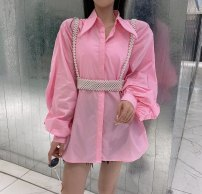 shirt White, pink, light green, lake blue S,M,L Spring 2021 cotton 96% and above Long sleeves commute Medium length square neck Single row multi button puff sleeve Solid color Straight cylinder Other / other Korean version Button, thread, fold pure cotton