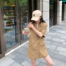 Dress Summer 2021 Khaki, black M, L Mid length dress singleton  Short sleeve commute tailored collar High waist Solid color double-breasted other routine Others 6du shop Korean version 1Q4214 30% and below