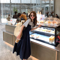 Dress Summer 2021 Navy Blue M, L longuette Fake two pieces Short sleeve commute Crew neck High waist Solid color Socket A-line skirt routine Others Type A 6du shop Korean version 1Q4204 30% and below other