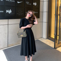 Dress Summer 2021 black Average size longuette singleton  Short sleeve commute Crew neck High waist Solid color Socket A-line skirt puff sleeve Others Type A 6du shop Korean version 1Q4212 30% and below other
