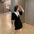 Dress Summer 2021 black S,M,L Mid length dress singleton  Short sleeve commute Doll Collar High waist Socket A-line skirt routine Others Type A 6du shop Korean version 1Q4215 30% and below