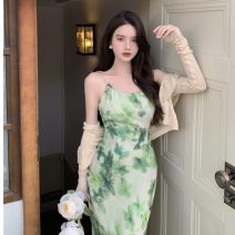 Dress Summer 2021 Medium length skirt Two piece set commute square neck High waist Broken flowers camisole 18-24 years old Korean version 0512 30% and below S. M, l, average size