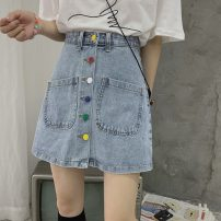 skirt Summer 2021 S,M,L blue Short skirt commute High waist A-line skirt Solid color 18-24 years old two point two four Korean version