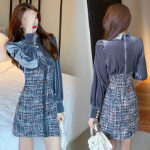 Dress Winter 2020 grey S,M,L Short skirt Fake two pieces Long sleeves Polo collar High waist lattice Single breasted A-line skirt routine Others 18-24 years old Type A Button twelve point one polyester fiber