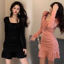 Dress Winter 2020 Black, pink Average size Short skirt singleton  Long sleeves square neck High waist Solid color Socket Ruffle Skirt routine Others 18-24 years old Type A Lotus leaf edge One point one polyester fiber