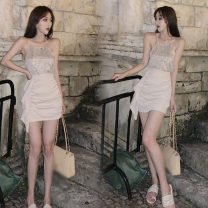 Fashion suit Summer 2020 S. M, average size We sell Sequin vest and apricot skirt 18-25 years old eight point one four