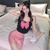 Fashion suit Summer 2021 S. M, average size Black T, pink skirt Under 17 Three point nine 30% and below