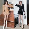 Dress Winter 2020 Champagne, black S,M,L Short skirt singleton  Long sleeves V-neck High waist Ruffle Skirt 18-24 years old twelve point three one