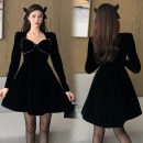 Dress Winter 2020 black S, M Short skirt singleton  Long sleeves square neck High waist Socket A-line skirt routine Others 18-24 years old twelve point three one