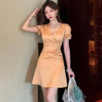 Dress Summer 2021 Burnt yellow S,M,L Mid length dress singleton  Short sleeve commute V-neck High waist Solid color Socket One pace skirt routine 18-24 years old Type H Korean version Lotus leaf edge 30% and below