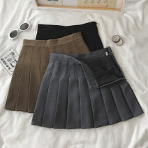 skirt Winter 2020 S,M,L,XL Short skirt commute High waist Pleated skirt Solid color Type A 18-24 years old one point one zero Korean version